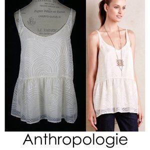 Anthropologie HD In Paris Cream Laleh Peplum Top S